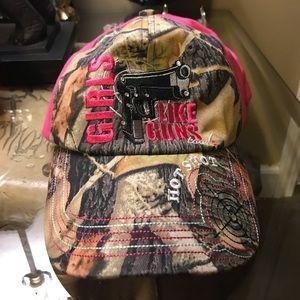 Girls Like Guns Too Camo/ Shooting Arms Pink Cap